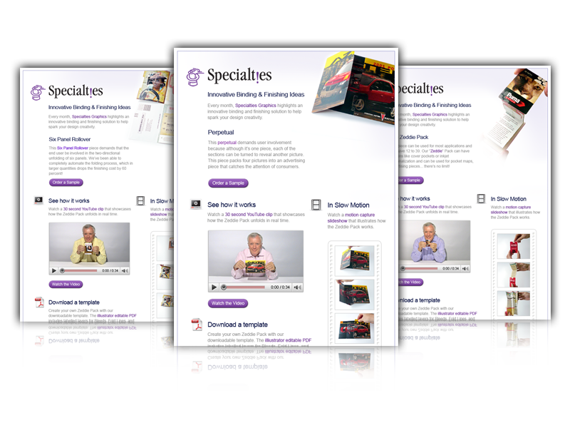 Specialties email campaign and web design by Blox Creative